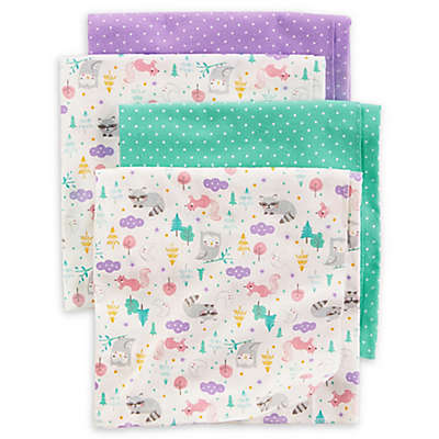 carter's® 4-Pack Animal Dot Receiving Blankets in Teal/Purple