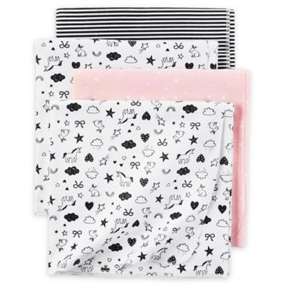 Carter S 174 4 Pack Unicorn Receiving Blankets In Black White