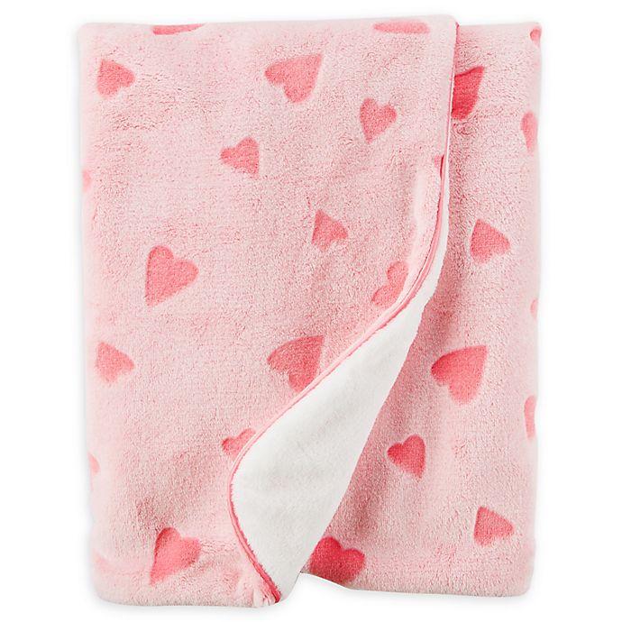 Alternate image 1 for carter's® Heart Plush Blanket in Pink