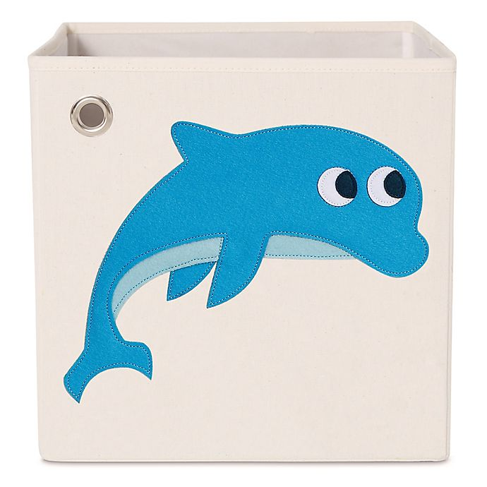 Alternate image 1 for kaikai & ash Dolphin Kid's Canvas Storage Bin