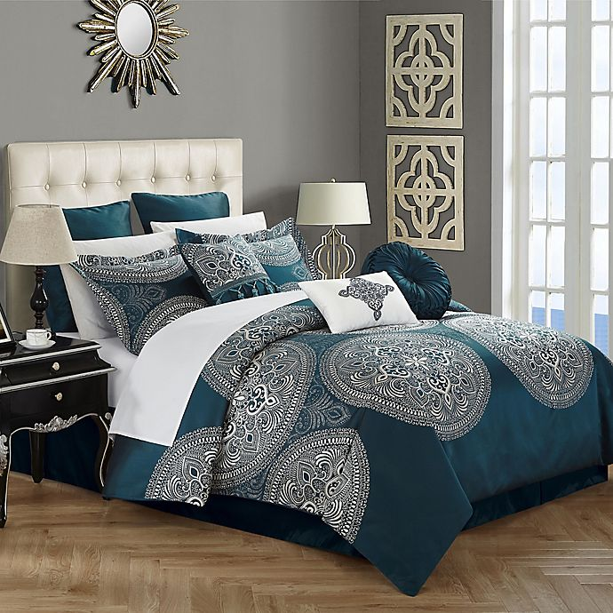 Alternate image 1 for Chic Home Lira 9-Piece King Comforter Set in Blue