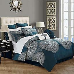 Chic Home Lira 9-Piece Queen Comforter Set in Blue