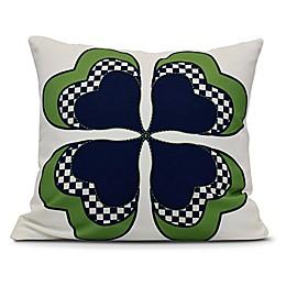 4 Leaf Clover Square Throw Pillow