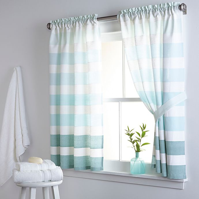Alternate image 1 for DKNY Highline Stripe 38-Inch x 45-Inch Cotton Bath Window Curtain Panel Pair in Aqua