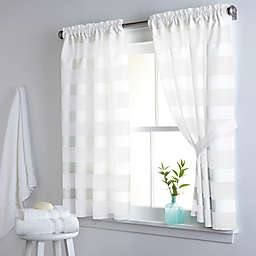 DKNY Highline Stripe 38-Inch x 45-Inch Cotton Window Curtain Panel Pair in White