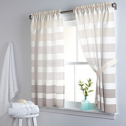 DKNY Highline Stripe 38-Inch x 45-Inch Cotton Window Curtain Panel Pair in Taupe