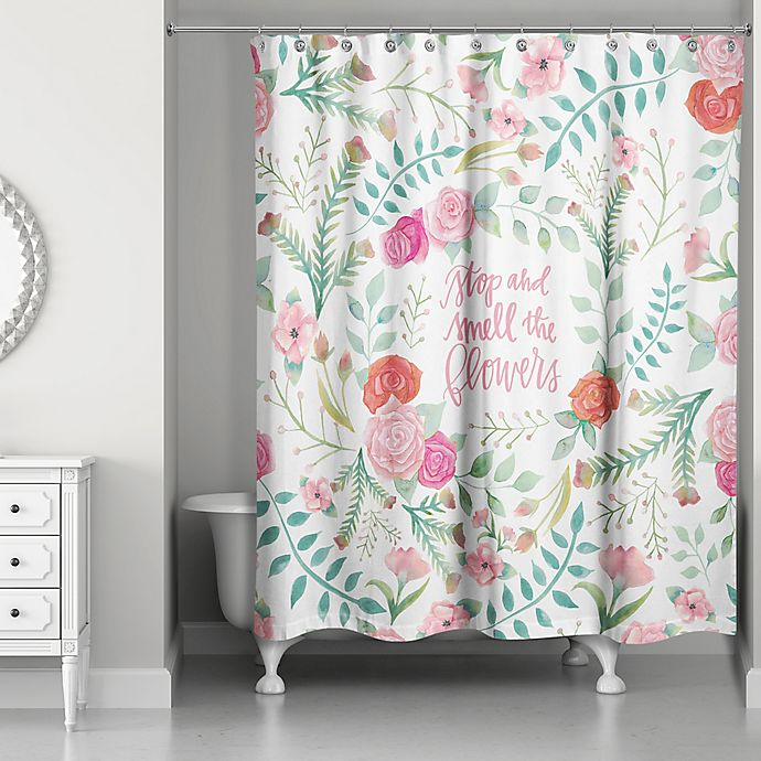 Alternate image 1 for Designs Direct 71-Inch x 74-Inch Smell the Flowers Shower Curtain in Pink