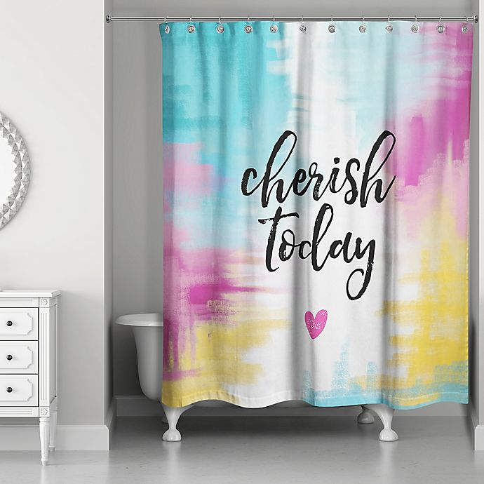 Alternate image 1 for Designs Direct 71-Inch x 74-Inch Cherish Today Shower Curtain in Teal
