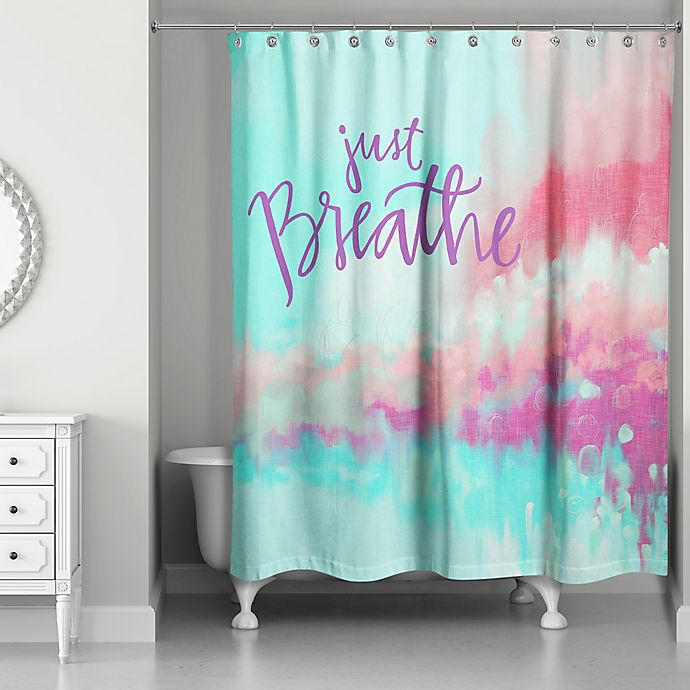 Alternate image 1 for Designs Direct 71-Inch x 74-Inch Just Breathe Shower Curtain in Teal