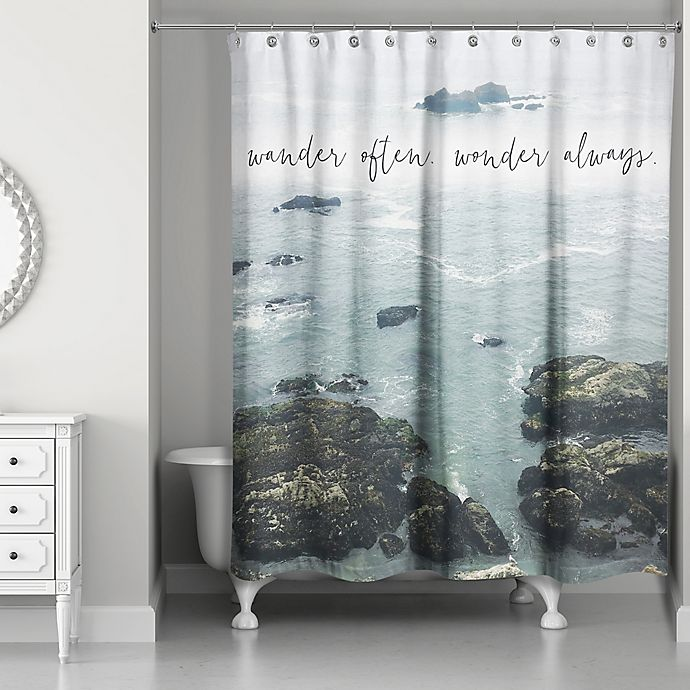 Alternate image 1 for Designs Direct 71-Inch x 74-Inch Wander Often Wonder Always Shower Curtain in Blue