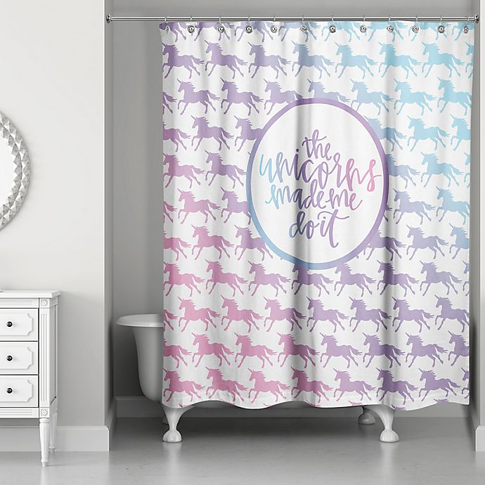 Alternate image 1 for Designs Direct 71-Inch x 74-Inch Unicorns Made Me Do It Shower Curtain in Purple