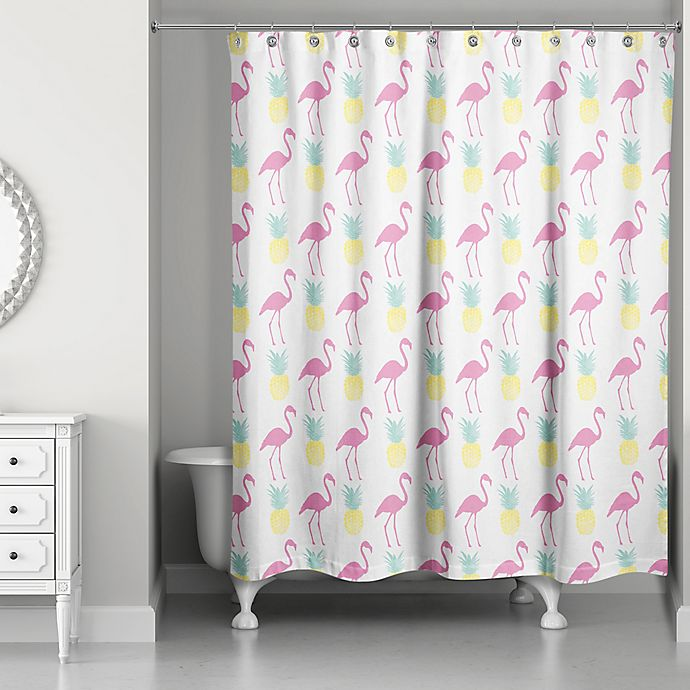 Alternate image 1 for Designs Direct 71-Inch x 74-Inch Tropical Icons Shower Curtain in Pink