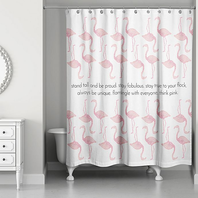 Alternate image 1 for Designs Direct 71-Inch x 74-Inch Stay True to Your Flock Shower Curtain in Pink