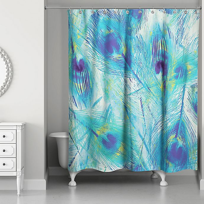 Alternate image 1 for Designs Direct 71-Inch x 74-Inch Painted Peacock Feathers Shower Curtain in Blue