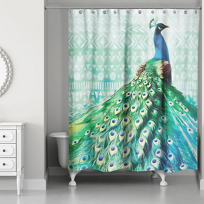 Alternate image 1 for Designs Direct 71-Inch x 74-Inch Watercolor Boho Peacock Shower Curtain in Blue