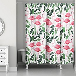 Designs Direct 71-Inch x 74-Inch Tropical Flamingo Oasis Shower Curtain in Green