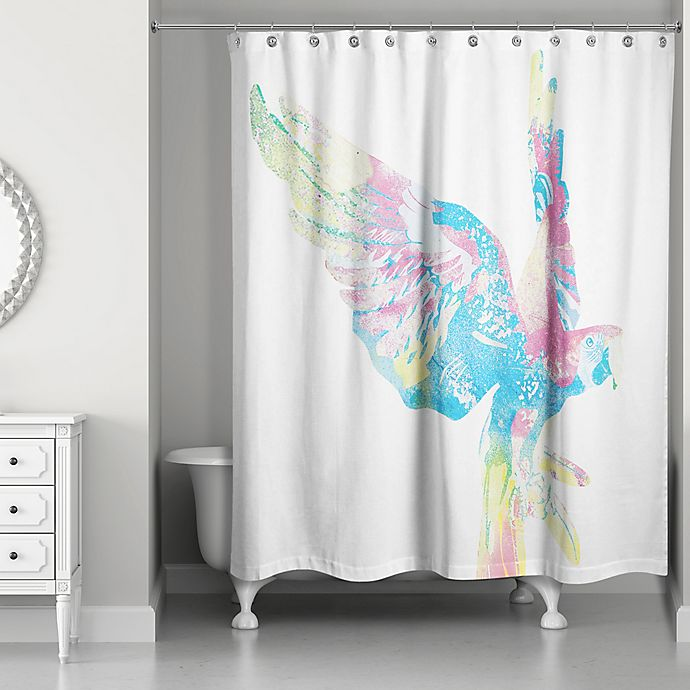 Alternate image 1 for Designs Direct 71-Inch x 74-Inch Vibrant Parrot Shower Curtain in Blue
