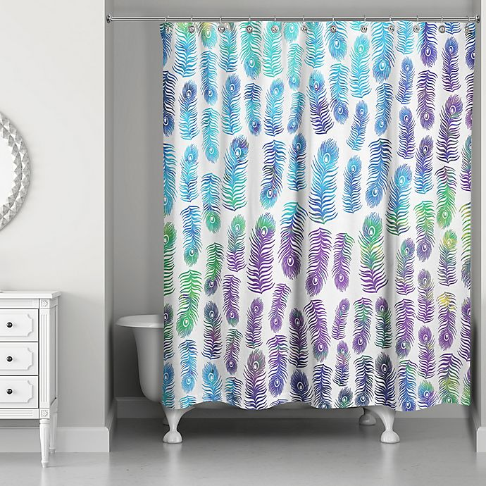 Alternate image 1 for Designs Direct 71-Inch x 74-Inch Peacock Rainbows Shower Curtain in Purple