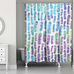 Designs Direct 71-Inch x 74-Inch Peacock Rainbows Shower Curtain in Purple