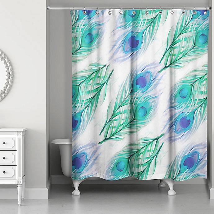 Alternate image 1 for Designs Direct 71-Inch x 74-Inch Watercolor Peacock Feathers Shower Curtain in Blue/White