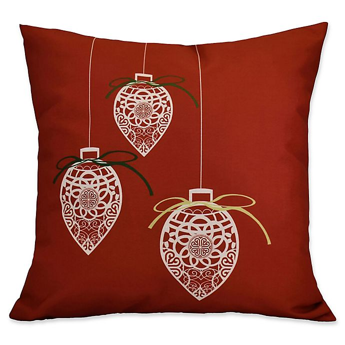 Alternate image 1 for E by Design Decorative Holiday Square Throw Pillow in Red