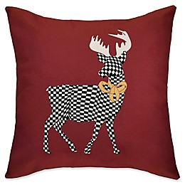 E by Design Merry Deer Square Throw Pillow