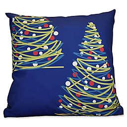 E by Design O Tannenbaum Throw Pillow in Royal Blue