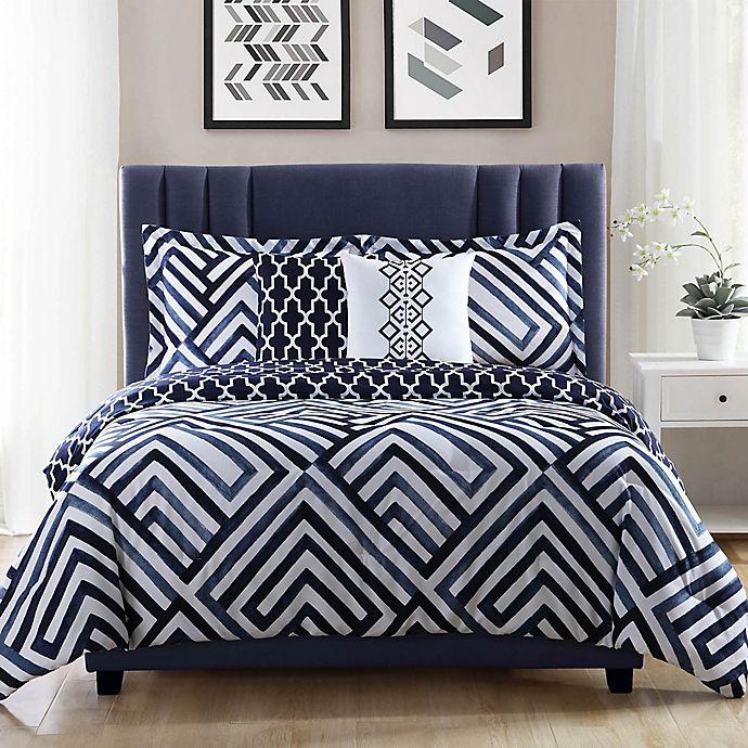 Alternate image 1 for Studio 17 Swing 5-Piece Reversible Full/Queen Comforter Set in Navy