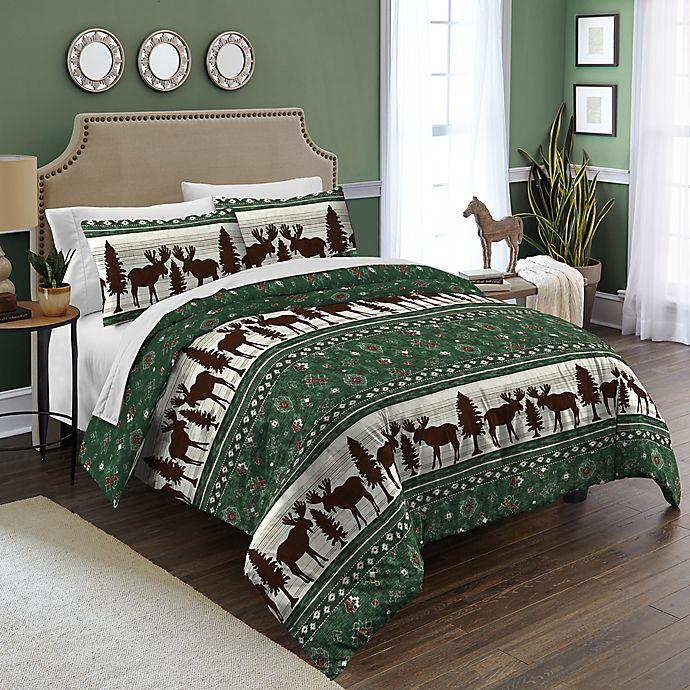 Destinations Moose Fairisle Comforter Set In Green Bed