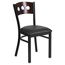 Flash Furniture Circle Back Metal and Walnut Wood Chair with Vinyl Seat