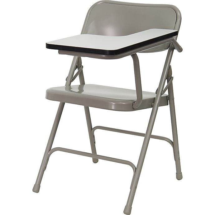 Alternate image 1 for Flash Furniture 30-Inch Steel Folding Chair with Left Tablet Arm in Grey