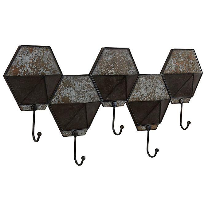 Alternate image 1 for Household Essentials® Hexagon Wall-Mount Coat Rack in Grey/ Black