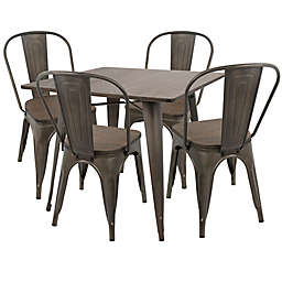 LumiSource Oregon 5-Piece Dining Set in Antique/Espresso