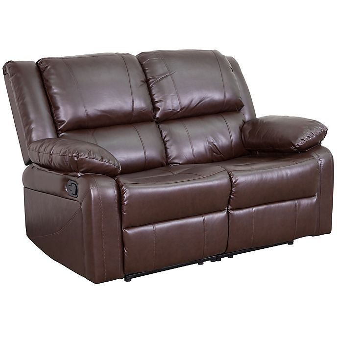 Brilliant Flash Furniture Faux Leather Reclining Loveseat In Brown Short Links Chair Design For Home Short Linksinfo