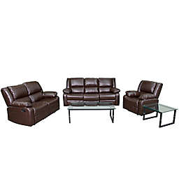 Flash Furniture 3-Piece Bonded Leather Reclining Set in Brown