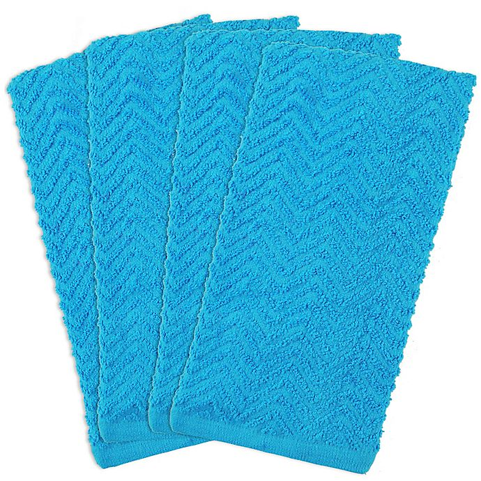 Alternate image 1 for Design Imports 4-Pack Zigzag Kitchen Towels in Neon Blue