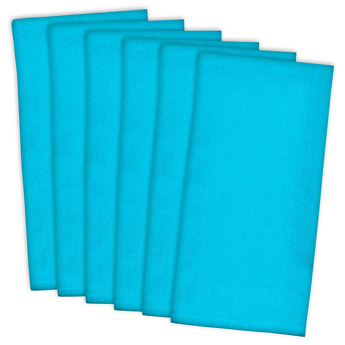 Alternate image 1 for Design Imports Pack of 6 Flat Woven Kitchen Towels in Neon Blue