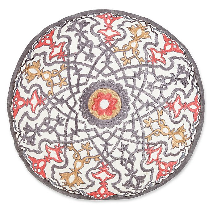 Alternate image 1 for Jessica Simpson Puebla Embroidered Round Throw Pillow in Grey/White