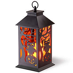 National Tree Company® LED Owl and Pumpkin Lantern in Black