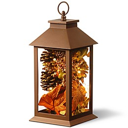 National Tree Company® LED Maple Harvest Arrangement Lantern in Brown