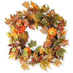 National Tree 24-Inch Decorated Maple Leaf Wreath in Orange