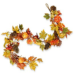 National Tree Company® 72-Inch Decorated Maple Leaf Garland in Orange