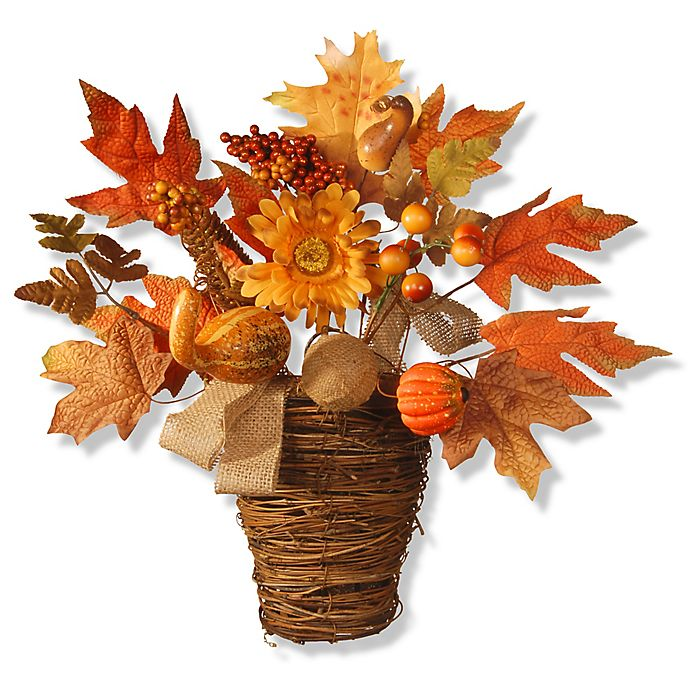Alternate image 1 for National Tree Company® 16-Inch Maple Leaf Wall Basket in Orange