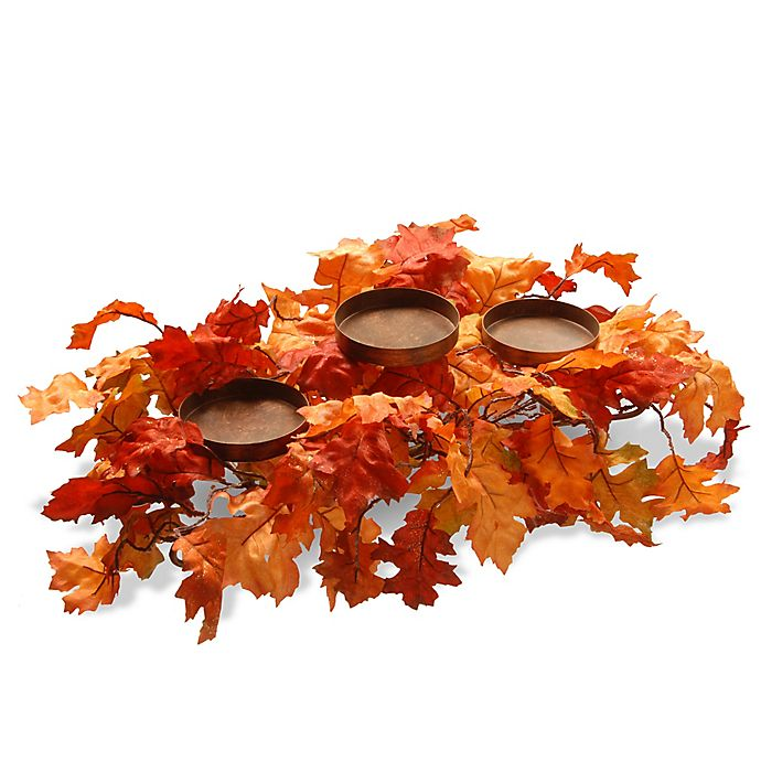 Alternate image 1 for National Tree Company® Maple Leaf Candle Holder in Orange