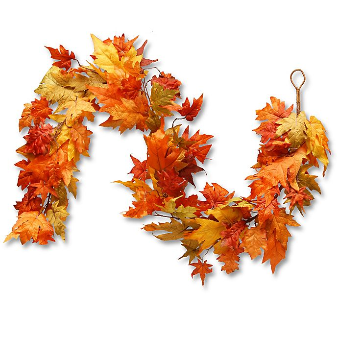 Alternate image 1 for National Tree Company® 72-Inch Maple Leaf Garland in Orange
