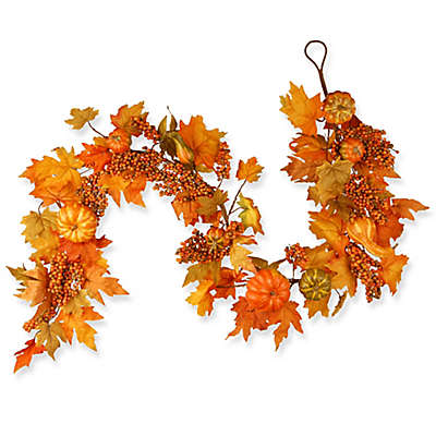 National Tree Company® 70-Inch Maple Leaf, Pumpkin, and Berry Garland in Orange