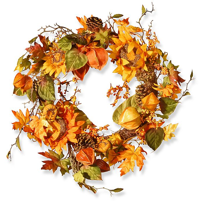Alternate image 1 for National Tree Company® 25-Inch Sunflower Wreath in Yellow