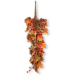 National Tree Company® 35-Inch Decorated Maple Leaf Teardrop Wall Art in Brown