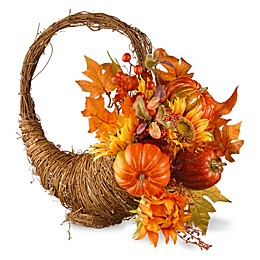 National Tree Company® 22-Inch Autumn Cornucopia Basket in Orange