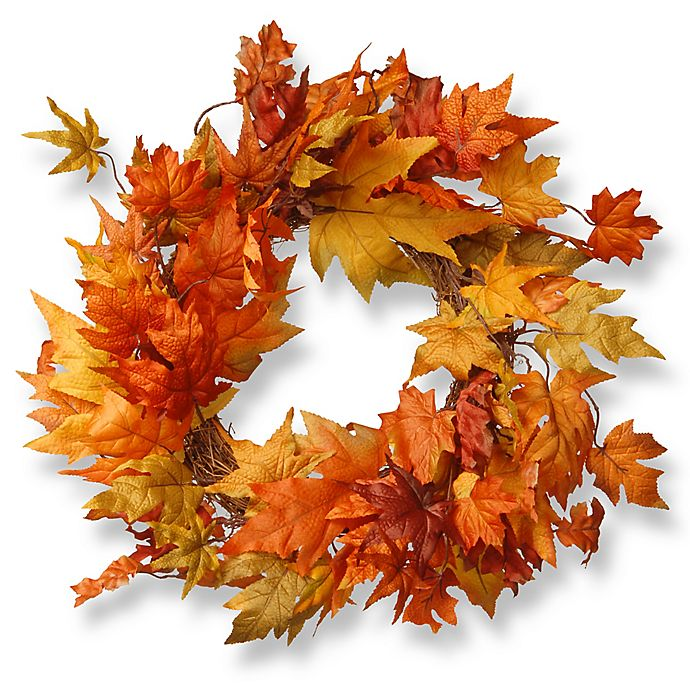 Alternate image 1 for National Tree 24-Inch Maple Leaf Wreath in Orange